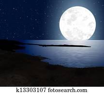 Moonlight With Full Moon - Coast