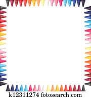 Multi color pastel(crayon) pencils border isolated on white with clipping path and copy space for text in the center