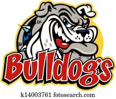 niedlich, grinsend, bulldogge, gesicht