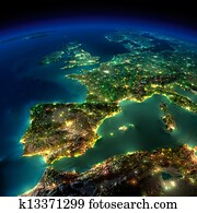 Night Earth. A piece of Europe - Spain, Portugal, France