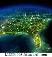 Night Earth. A piece of North America