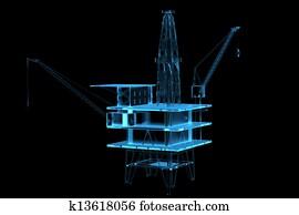 Oil rig (3D xray blue transparent)