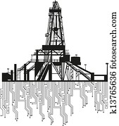 Oil rig silhouettes on white background.