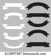 Old ribbon banner ,black and white.