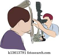ophthalmologist is checking eye