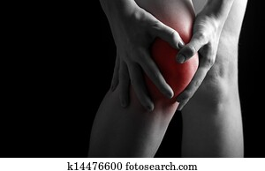 pain in the knee. Chiropractor doing massage in sick knee in black red color
