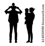 parents with a child silhouettes