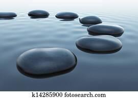 Pebbles in water.
