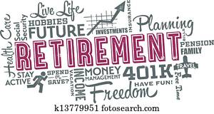 pensionierung, planung, wort, collage