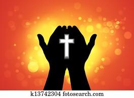 person, angebot, gebet, oder, anbeten, mit, kreuz, in, hand