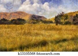 Picturesque Grassland Oil Painting