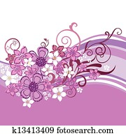 Pink flowers banner isolated