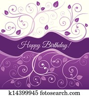 Pink happy Birthday card and swirls