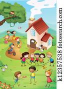 Playground with kids