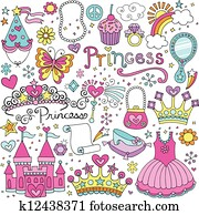 Princess Tiara Fairytale Vector Set