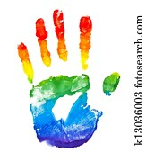 Rainbow painted hand shape