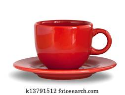 Red coffee cup with plate