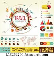 reise tourismus, infographics, mit, daten, icons,, elemente