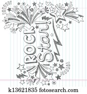 Rock Star Music Sketchy Doodle