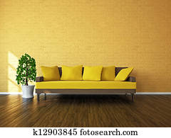 Room with sofa and a plant