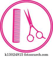 round icon of hair salon