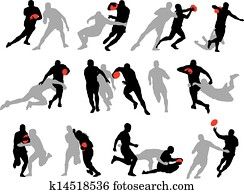 Rugby action group poses silhouette