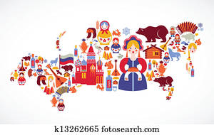 Clipart of Russian federation map k3969852 - Search Clip Art ...