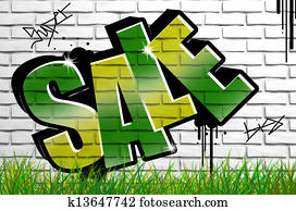 Sale graffiti on concrete wall