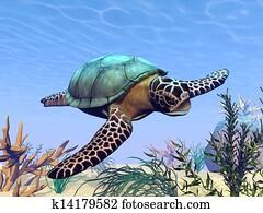 Sea turtle in the sea - 3D render
