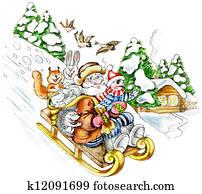 Senior man sledding