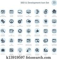 seo, und, entwicklung, symbol, satz