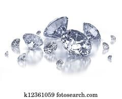 Set of diamonds on white background