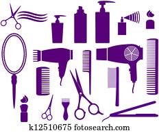 set of hairstyling objects