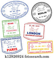 Set of passport stamps