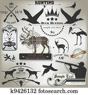 Set of vintage labels on hunting.