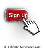 sign up 3d button