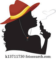 Silhouette of a Cowgirl Blowing the Tip of Pistol