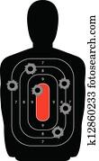 Silhouette Shooting Range Gun Target with Bullet Holes