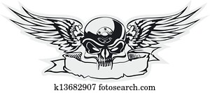 skull with wings at gray basis