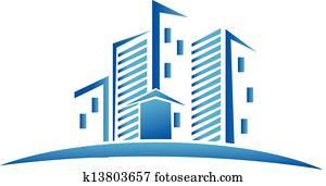 Skyline buildings real estate logo