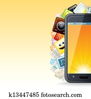 Smart Phone Apps Poster. Illustration