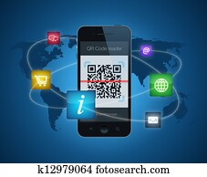 Smartphone with QR code reader