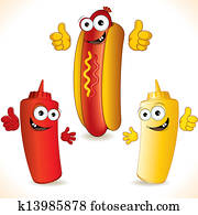 Smiling Cartoon Hot Dog with friends
