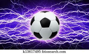 Soccer ball, bright lightnings