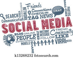 Social Media Icons and Word Cloud