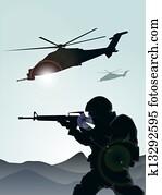 soldat, mit, hubschrauber