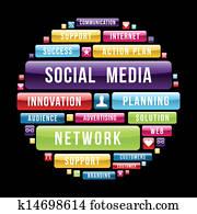 soziales, medien, begriff, kreis