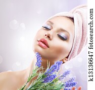Spa Girl with Lavender Flowers. Organic Cosmetics