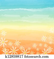 spring flowers in blue peach background