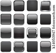 Square black app icons.
